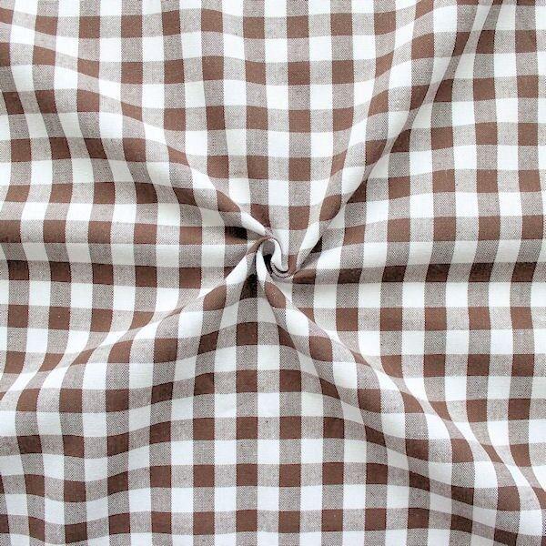 100% Baumwollstoff Züchen Vichy Karo groß Farbe Braun-Weiss