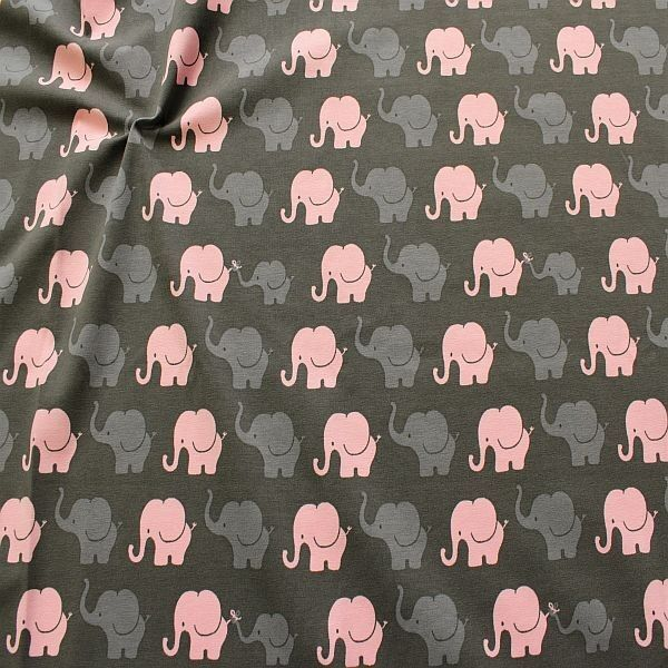 Baumwoll Stretch Jersey Elefanten Parade Grau-Rosa