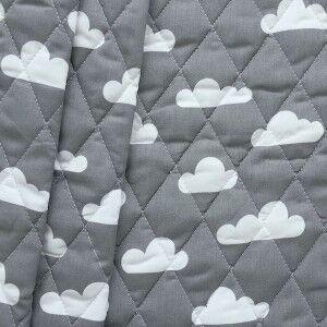 """Steppstoff wattiert """"Wolken"""" Farbe Dunkel-Grau"""