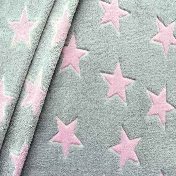 Wellness Fleece Sterne Grau-Rosa