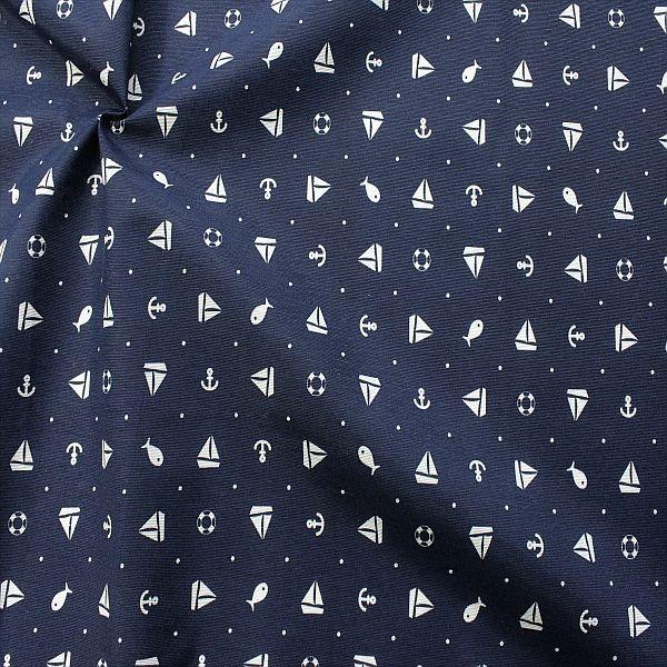 Dekostoff Maritimer Mix & Dots Navy-Blau