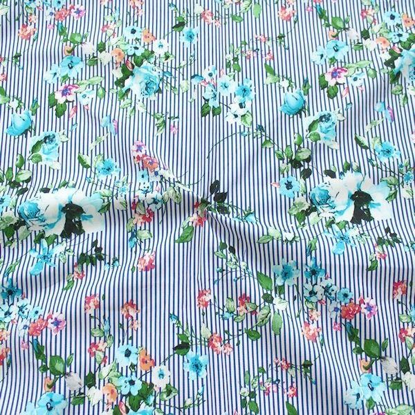 """Stretch Baumwolle Popeline """"Blumenranken & Streifen"""" Farbe Blau"""