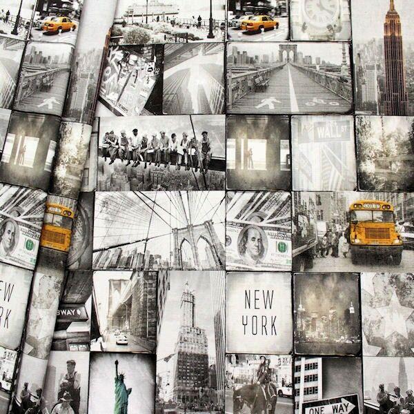 Dekostoff Digital Druck New York Grau-Weiss