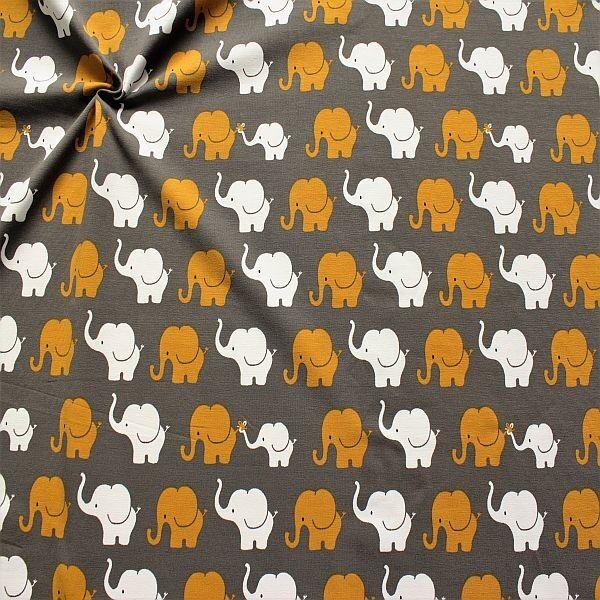 Baumwoll Stretch Jersey Elefanten Parade Grau-Curry