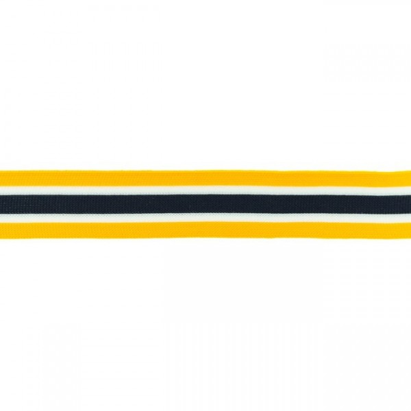 Elastikband Streifen 30mm Farbe Gelb-Blau-Weiss
