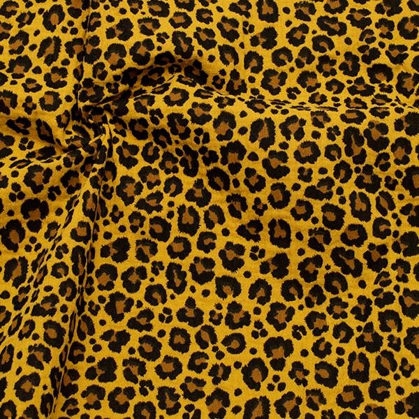 100% Baumwolle Musselin Double Gauze Leo-Print Ocker-Gelb