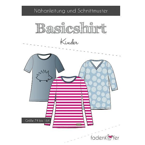 """Fadenkäfer Schnitt """"Basicshirt"""" Kinder Größe 74 - 164"""