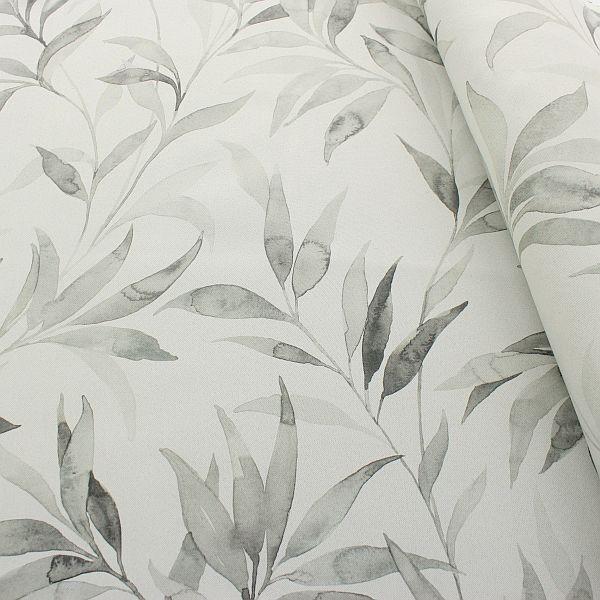 Verdunkelungs- Thermo Vorhangstoff Bambuszweige Grau-Beige