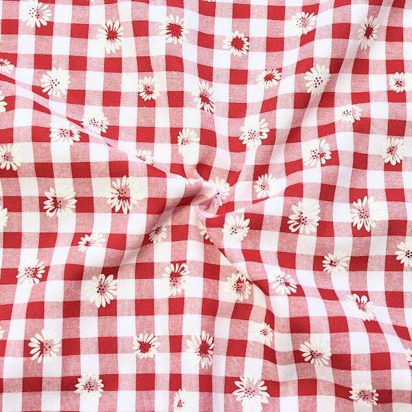 "Baumwollstoff beflockt ""Trachten Karo & Blüten"" Farbe Rot-Weiss"