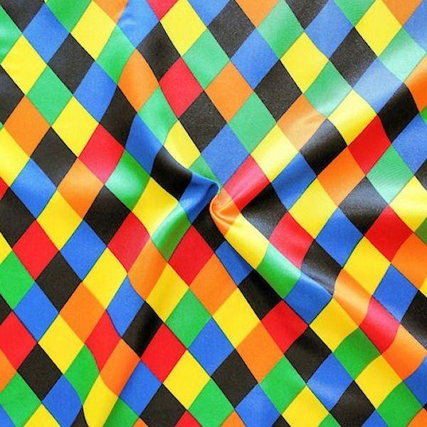 Satin Stoff Karneval Rauten Multicolor 1