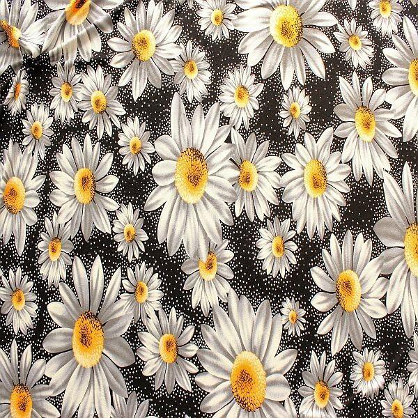 Viskose Stretch Jersey Margeriten Blüten Schwarz