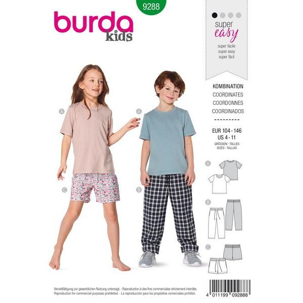Shirt – Hose – Shorts , Gr. 104 - 146 Schnittmuster Burda 9288