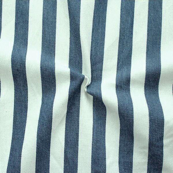 """100% Baumwolle Denim Jeans Stoff """"Blockstreifen 3"""" Farbe Indigo-Blau"""