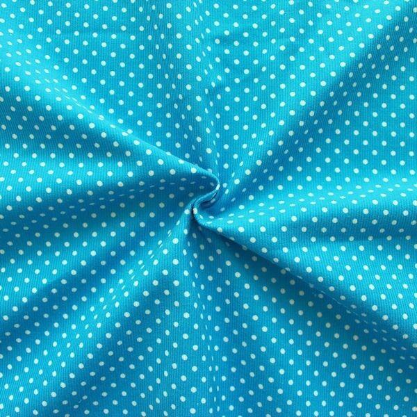 "Feincord Baumwollstoff ""Punkte Klein"" Farbe Capri-Blau"