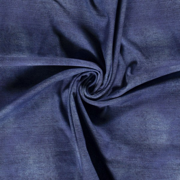 Sweatshirt Baumwollstoff French Terry Jeans Look Dunkel-Blau