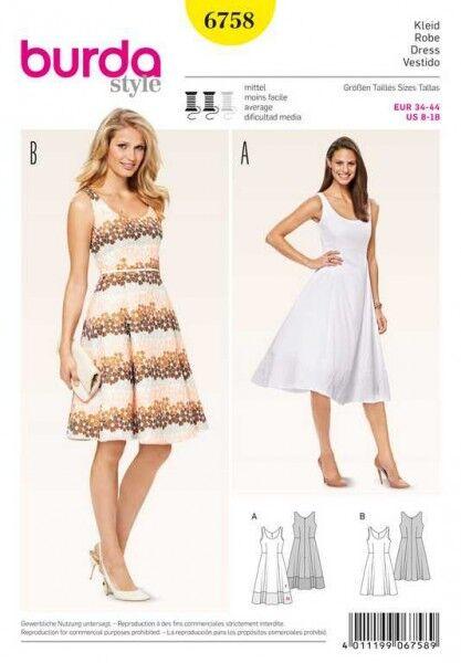 Kleid – Saumblende, Gr. 34 - 44, Schnittmuster Burda 6758
