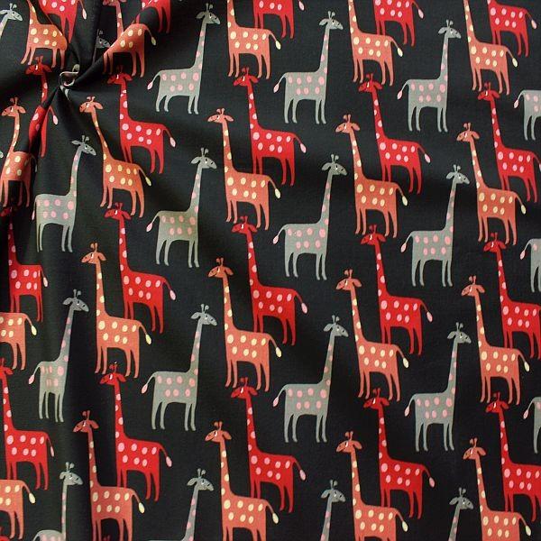 Baumwollstoff Giraffen Schwarz