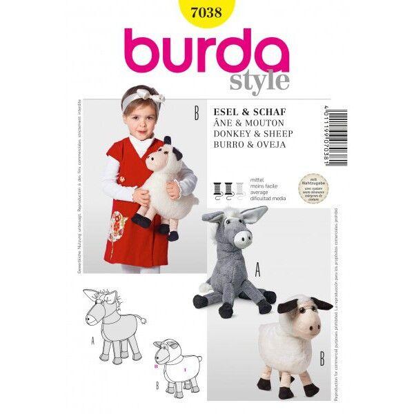 Burda Schnittmuster 7038 Kuscheltier Esel und Schaf