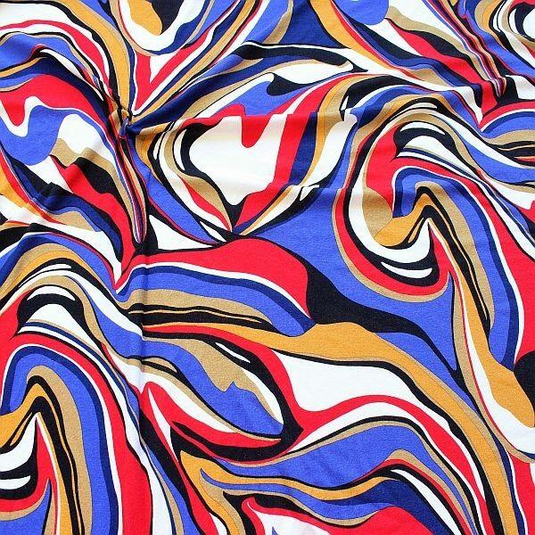 Viskose Stretch Jersey Color Flows Rot-Multicolor