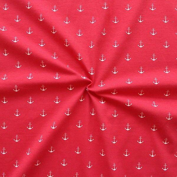 Baumwoll Stretch Jersey Anker Rot