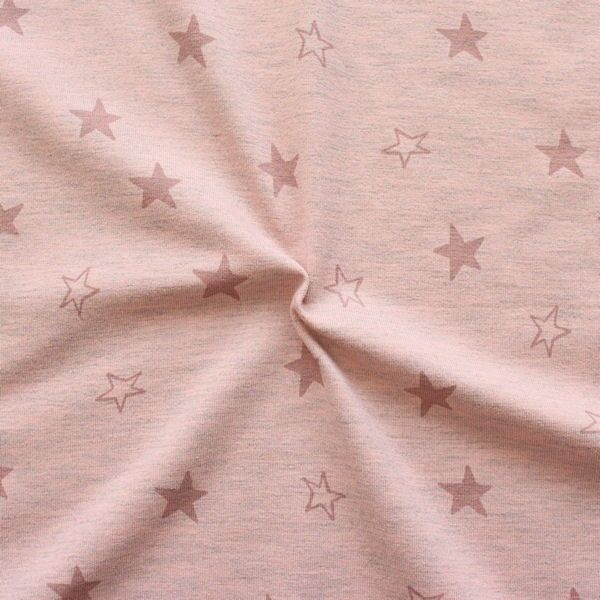 "Baumwoll Stretch Jersey ""Sterne Mix Melange"" Farbe Rosa"