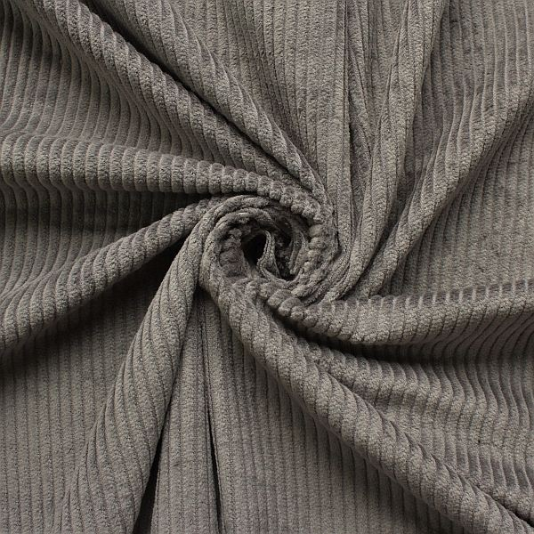 Baumwollstoff Breitcord Klassik Grau