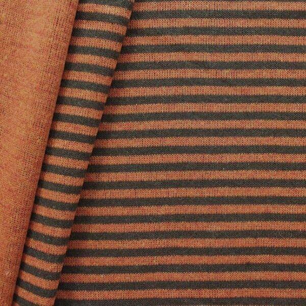 "Strick Jersey Doubleface ""Ringel 2"" Farbe Orange-Braun"