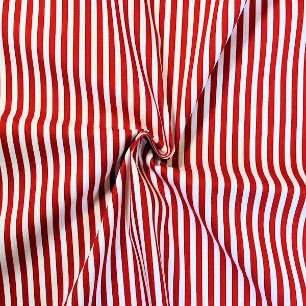 """Baumwollstoff """"Streifen Classic"""" Farbe Rot-Weiss"""