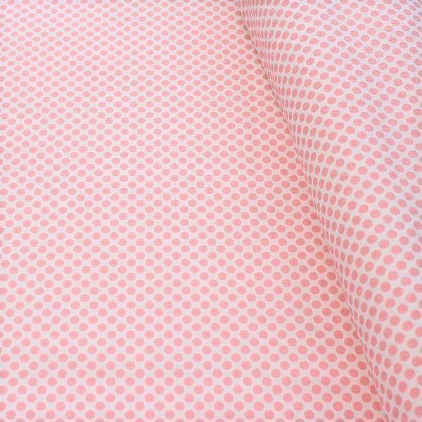 Baumwollstoff Dots Weiss-Rosa