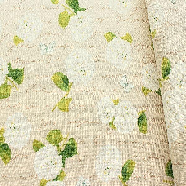Dekostoff Hortensie natur Creme-Weiss