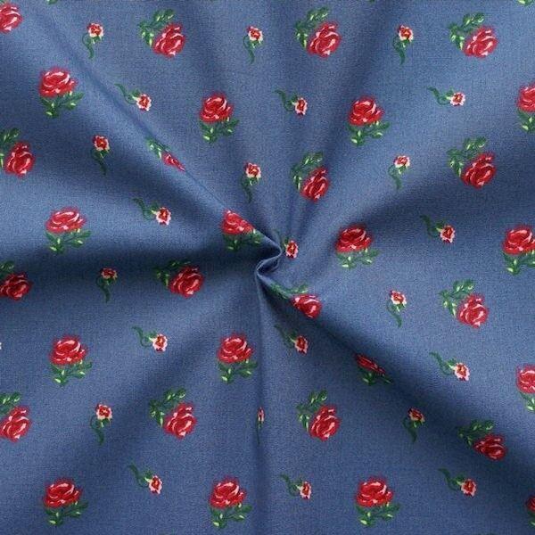 "100% Baumwolle Popeline ""Little Roses 2"" Farbe Blau"