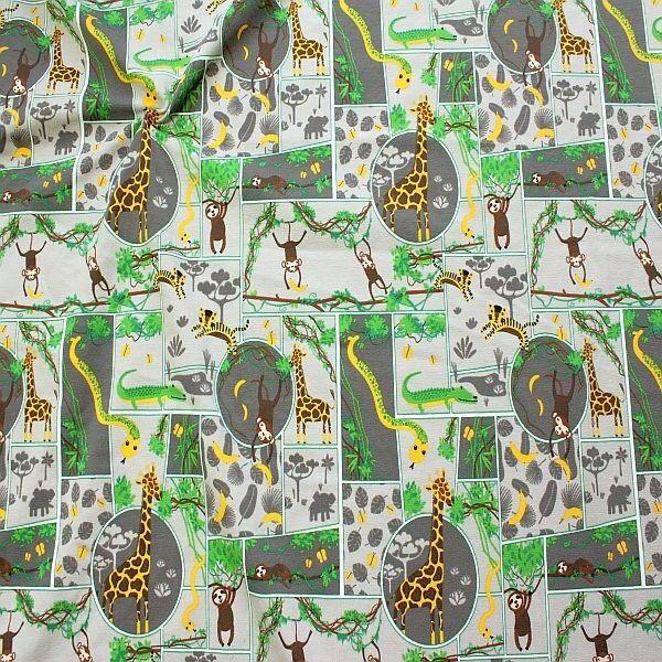 Baumwoll Stretch Jersey Dschungel Mosaik Grau