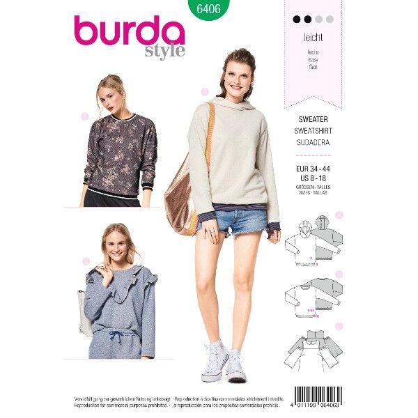 Sweater mit Bündchen, Hoody – Shirt mit Rüschen, Gr. 34 - 44, Schnittmuster Burda 6406