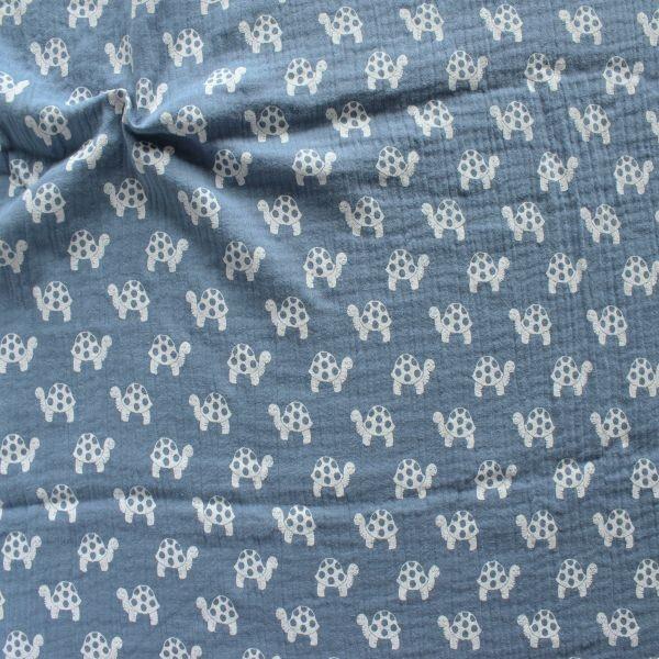 Baumwolle Musselin Schildkröten Tauben-Blau