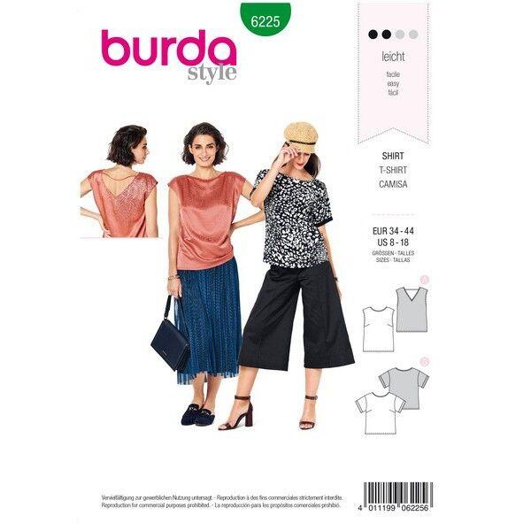 Bluse – Shirt – Top – gerade Form, Gr. 34 - 44, Schnittmuster Burda 6225