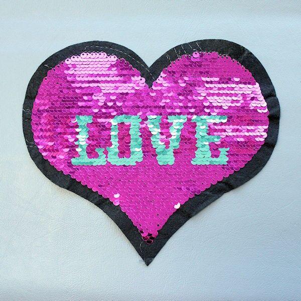 Wendepailletten Patch Herz Love-Unicorn Pink-Mint