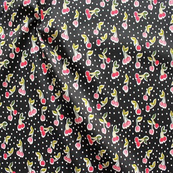 Baumwolle Popeline Cherrys & Dots Schwarz