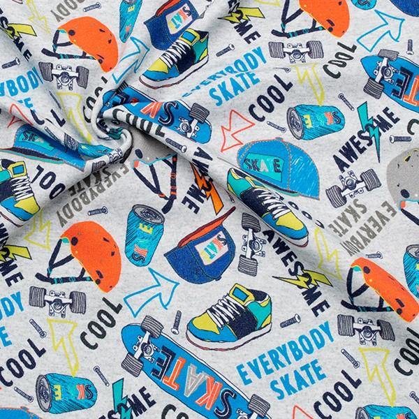 Sweatshirt Baumwollstoff French Terry Skatboard and Stuff Hell-Grau