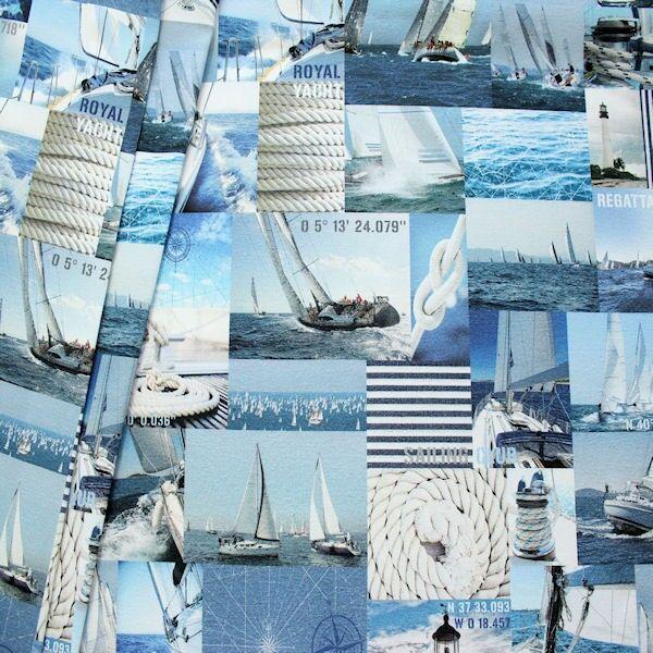 "Dekostoff Digital Druck ""Segel Regatta"" Farbe Blau"