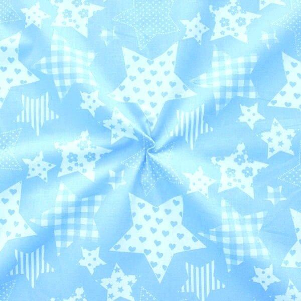 "100% Baumwollstoff ""Patchwork Sterne"" Farbe Hell-Blau Weiss"