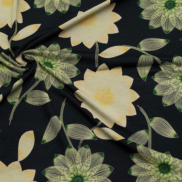 Viskose Stretch Jersey Exquisite Blumen Schwarz-Grün