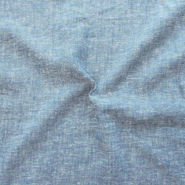 Leinen-Viskose Chambray Melange Jeans-Blau