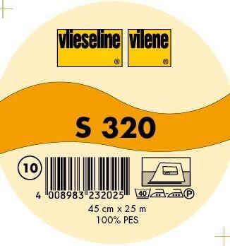 Vlieseline leichte Schabracken Bügeleinlage Typ S 320 Breite 45cm Farbe Weiss-Transparent