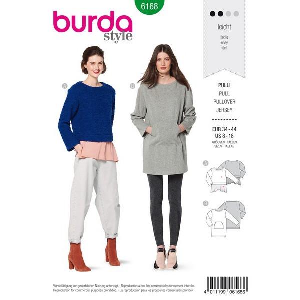 Pulli  – Two-in-one-Optik – Longshirt mit Känguru-Tasche, Gr. 34 - 44, Schnittmuster Burda 6168