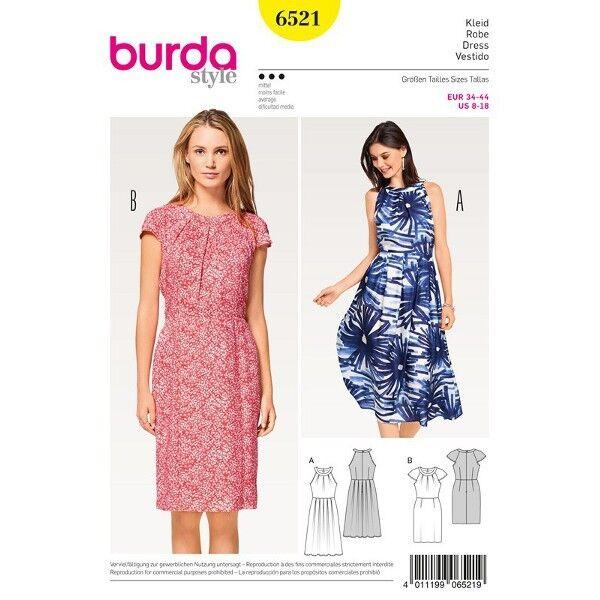 Kleid mit Ausschnittblende - Raglanärmel, Gr. 34 - 44, Schnittmuster Burda 6521
