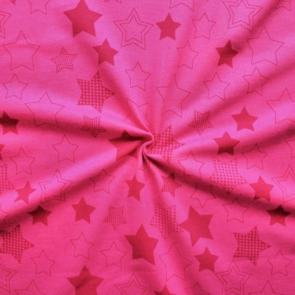 "Sweatshirt Baumwollstoff ""Sterne XL"" Farbe Pink-Rot"