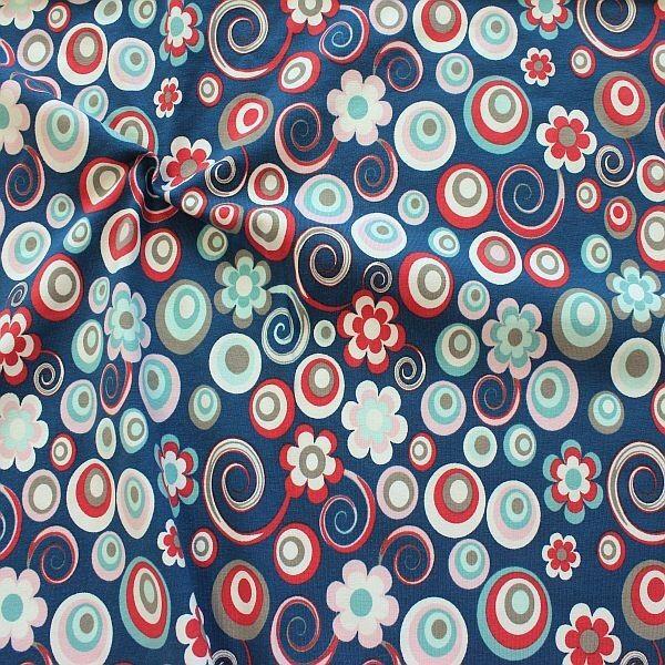 Baumwoll Stretch Jersey Blüten Kreise Mix Blau