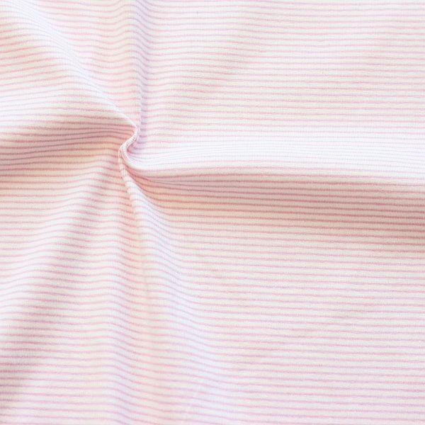 Baumwoll Stretch Jersey Mini Ringel Ecru-Rosa