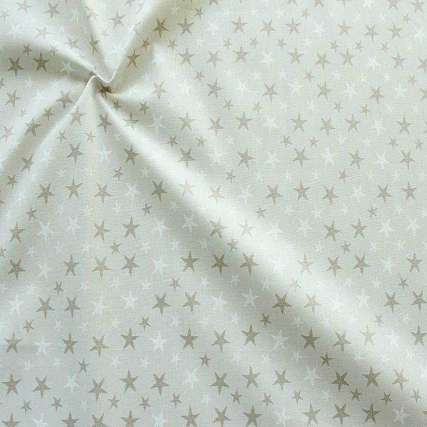 Baumwollstoff Sterne Mix Grau-Beige