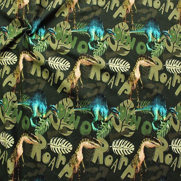 Sweatshirt Baumwollstoff French Terry Dino World Oliv-Grün
